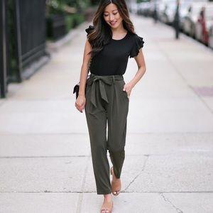 Forever 21 medium olive green paper bag pants
